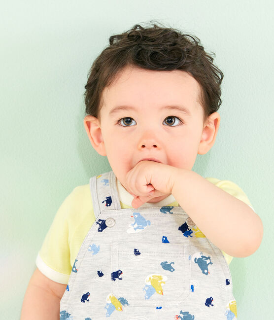 Salopette fantasia bebè maschio grigio Beluga / bianco Multico