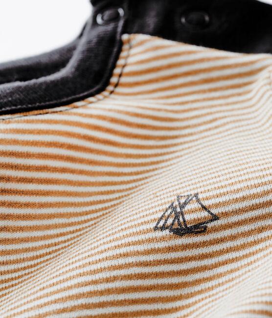 tee-shirt millerighe per bebé maschio marrone Brindille / bianco Marshmallow