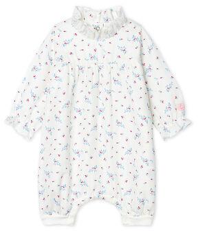 Tutina corta bebè femmina a costine bianco Marshmallow / bianco Multico