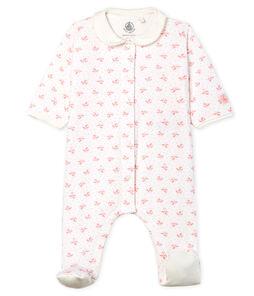 Tutina pigiama bebè femmina in tubique bianco Marshmallow / rosa Gretel