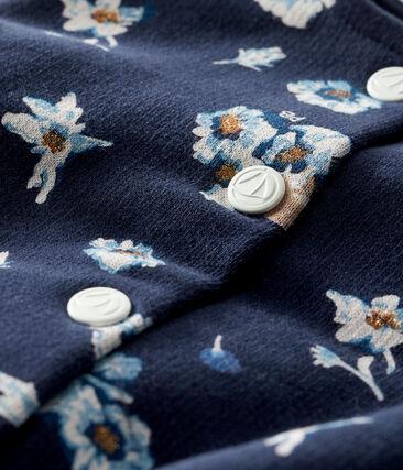 Cardigan bebè femmina in molleton fantasia blu Smoking / bianco Multico