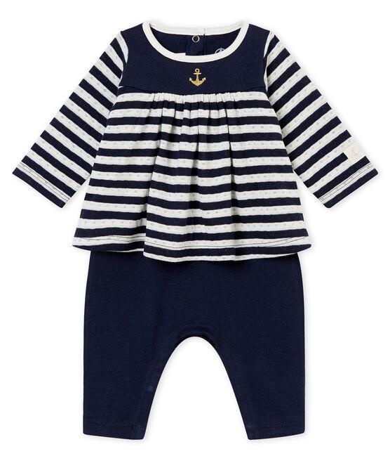 Tutina lunga per bebé femmina blu Smoking / bianco Marshmallow