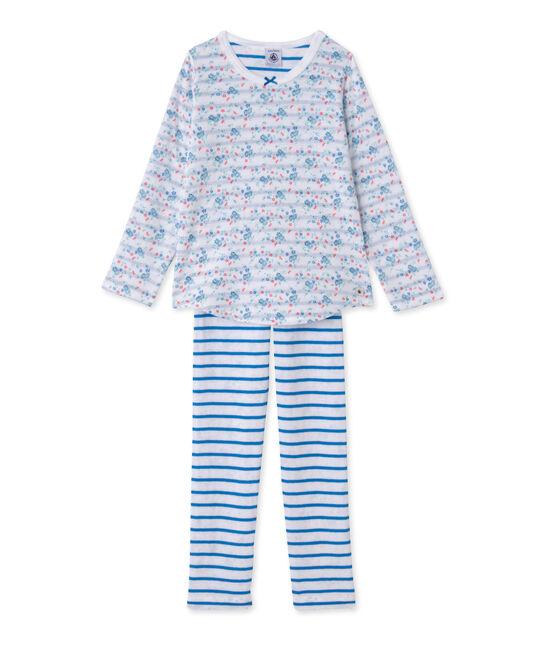Pigiama per bambina in tubique reversibile bianco Ecume / blu Bleu