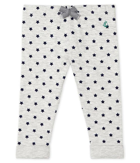 Pantalone bebè in tubique fantasia grigio Beluga / blu Smoking