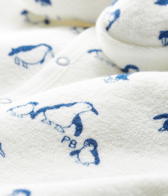 Completo notte bebè in spugna bouclette grattata super calda bianco Marshmallow / blu Major Cn