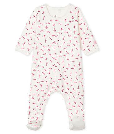 Bodyjama bebè femmina in tubique bianco Marshmallow / rosa Groseiller
