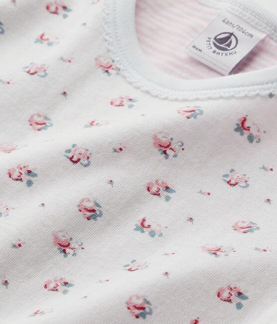 Pyjama fille imprimé petites fleurs blu Bocal / bianco Multico