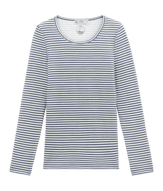 tee-shirt donna maniche lunghe in lana e cotone blu Turquin / bianco Marshmallow