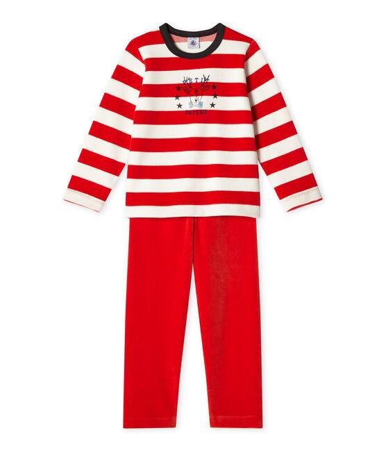 Pyjama garçon en velours rosso Froufrou / bianco Lait