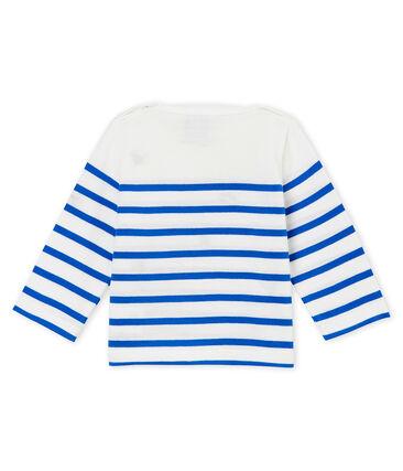 Marinière creativa per bebé femmina bianco Marshmallow / blu Perse