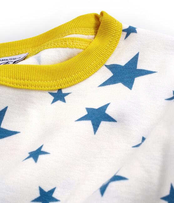 Pigiama corto bambino a costine modello molto aderente bianco Marshmallow / blu Alaska