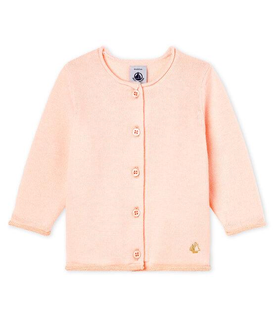 Cardigan essenziale bambina in maglia di lana e cotone FLEUR