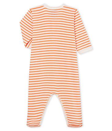 Tutina pigiama bambino a costine bianco Marshmallow / arancione Orient