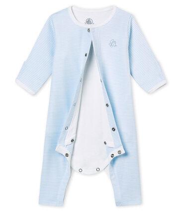 Tutina senza piedini per bebé unisex con body integrato blu Fraicheur / bianco Ecume