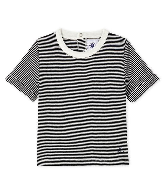 T-shirt millerighe bebè maschio blu Smoking / bianco Marshmallow