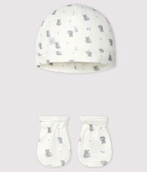 Confezione con cappellino nascita e muffole neonato a coste lotto .