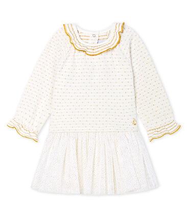 Abito bi-materiale a maniche lunghe da bebè femmina bianco Marshmallow / giallo Or