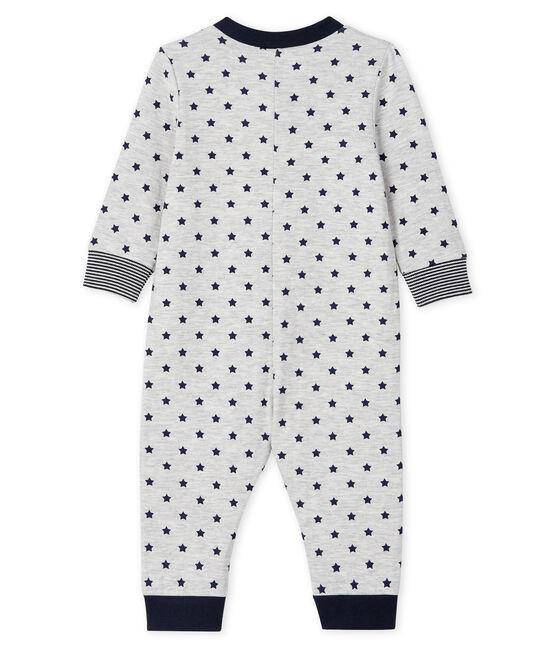 Tutina lunga con zip bebè maschio grigio Beluga / blu Smoking