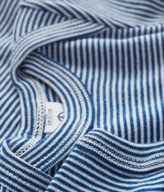 Body manica corta bebè maschietto-bambina blu Limoges / bianco Marshmallow