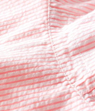 Cappellina in seersucker bebè bambina bianco Marshmallow / rosa Rosako
