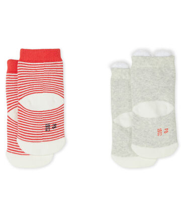 Confezione da 2 paia di calzini bebè unisex grigio Beluga / bianco Marshmallow