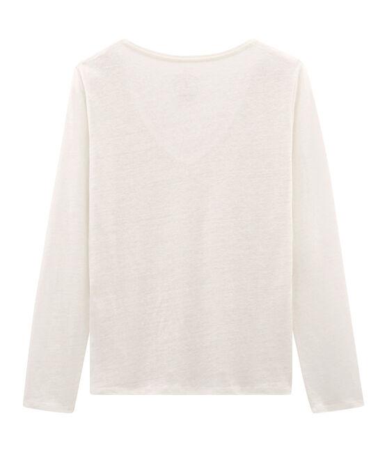 T-shirt maniche lunghe donna in lino cangiante bianco Marshmallow / rosa Copper