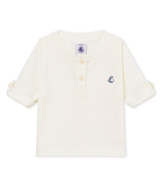 T-shirt ml bebè maschietto in cotone lino bianco Marshmallow