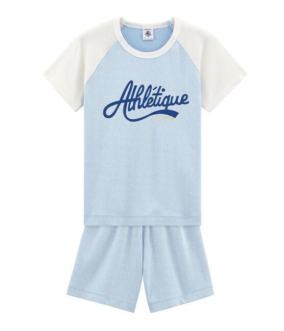Pigiama corto bambino a costine blu Placid / bianco Marshmallow