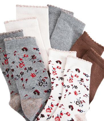 Confezione da 5 paia di calzini bambina lotto .