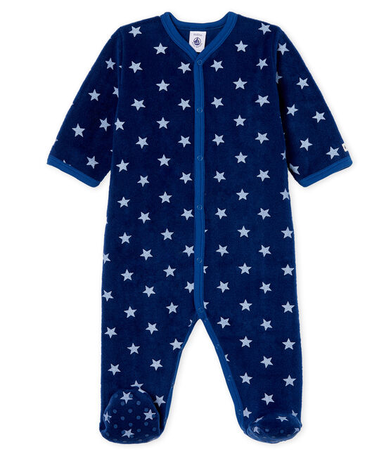 Tutina imbottita senza piedi bebé maschio in pile blu Medieval / bianco Marshmallow