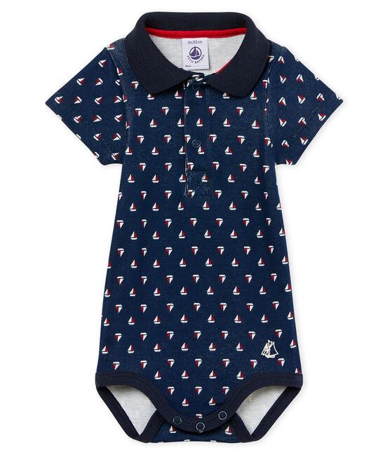 Body mc colletto polo neonato maschietto fantasia blu Haddock / bianco Multico