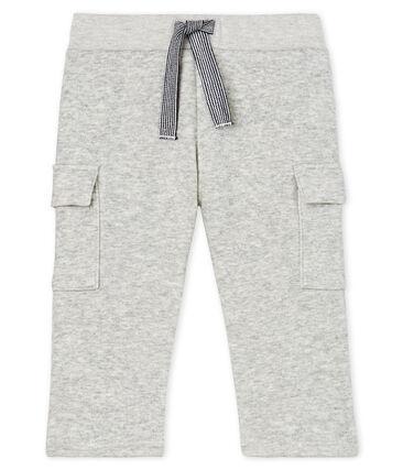 Pantalone bebè maschio in maglia di velluto grigio Beluga Chine