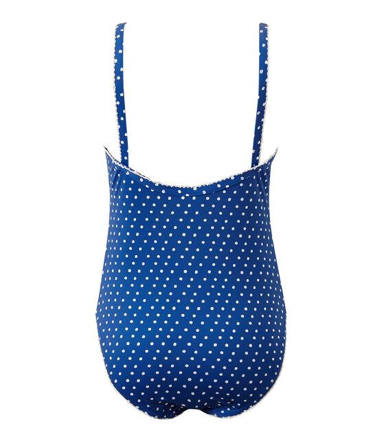Costume da bagno bambina intero a pois blu Perse / bianco Marshmallow