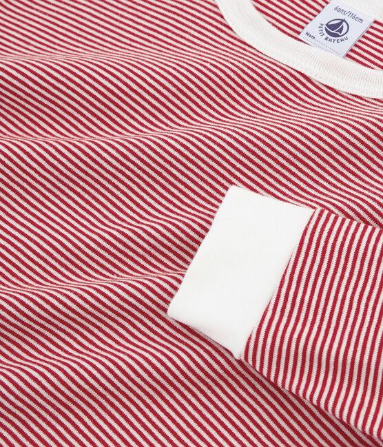 Pigiama ragazzo a costine rosso Carmin / bianco Marshmallow