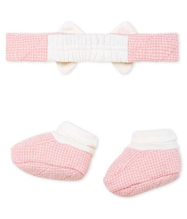 Lotto fascia e babbucce in tubique trapuntato bebè femmina lotto .