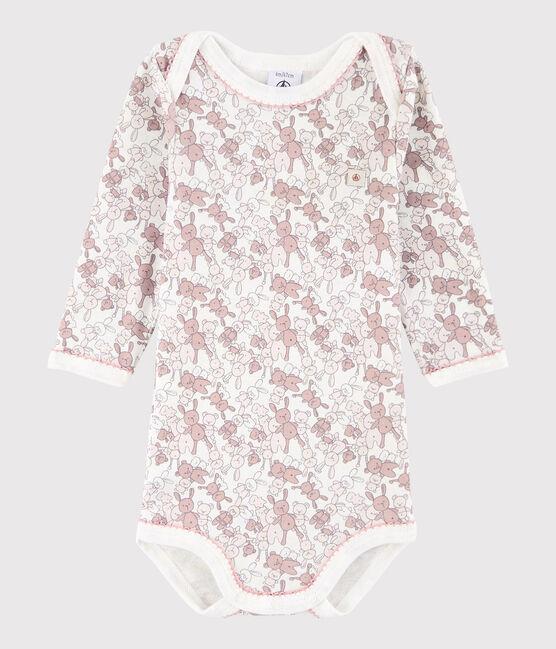 Body manica lunga bebè femmina rosa Charme / bianco Marshmallow
