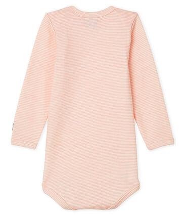 Body maniche lunghe bebè in lana e cotone rosa Charme / bianco Marshmallow