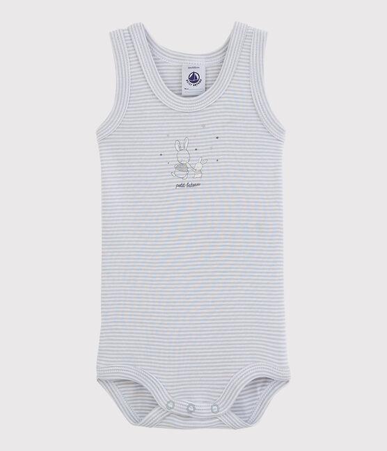 Body senza maniche bebè femmina grigio Mistigri / bianco Ecume