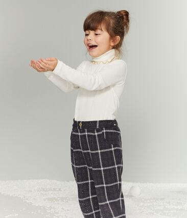 Pantalone in maglia a scacchi da bambina nero City / bianco Multico