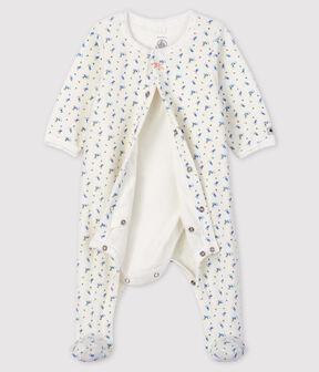 Body-pigiama con stampe a fiori bimba in velluto bianco Marshmallow / bianco Multico