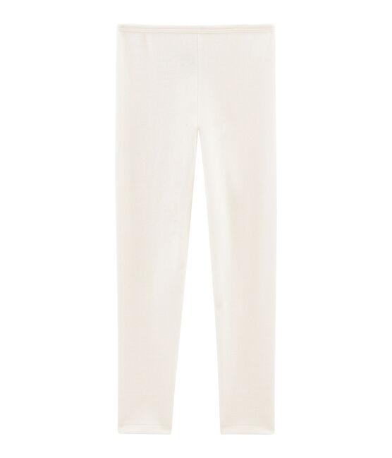 Leggings bambino in lana e cotone beige Ecru
