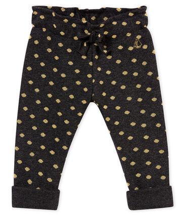 Pantalone per bebé femmina con stampa di pois dorati nero City / giallo Dore