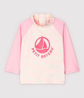 T-shirt anti-UV ecoresponsabile bebè femmina/maschio rosa Minois / bianco Marshmallow