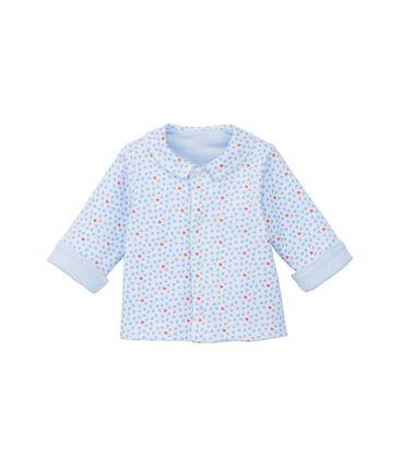 Giacca bebé unisex imbottita reversibile a millerighe - Vecchia collezione blu Fraicheur / bianco Ecume