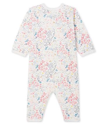 Tutina senza piedi bebé in ovatta di cotone bianco Marshmallow / rosa Minois