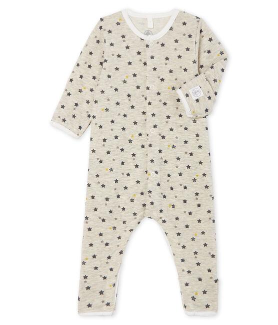 Tutina lunga da bebè in lana e cotone beige Montelimar / bianco Multico