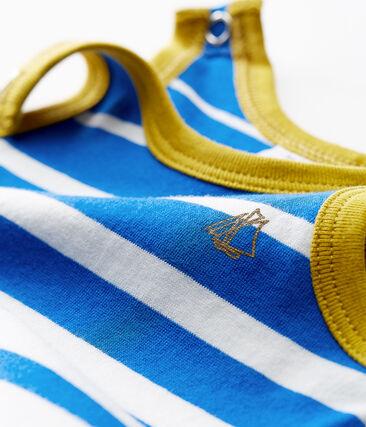Tutina corta neonato in jersey leggero a righe piazzate