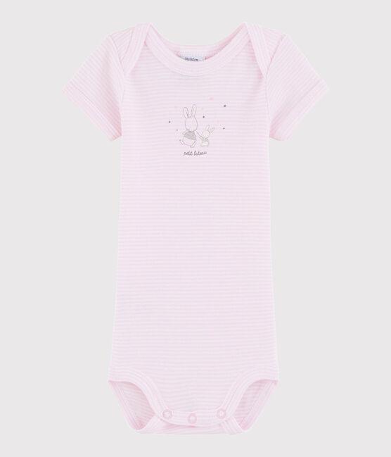 Body a manica corta bebè unisex rosa Doll / bianco Ecume