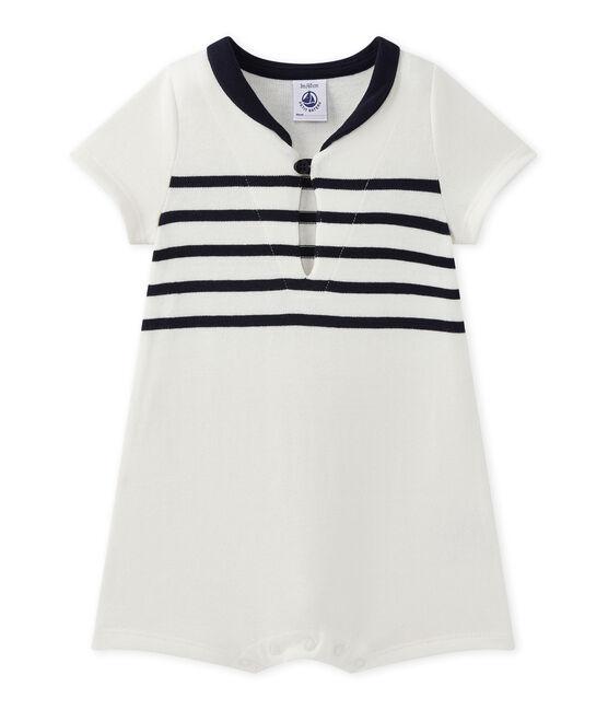 Tutina bebé bambino maniche corte bianco Marshmallow / blu Smoking