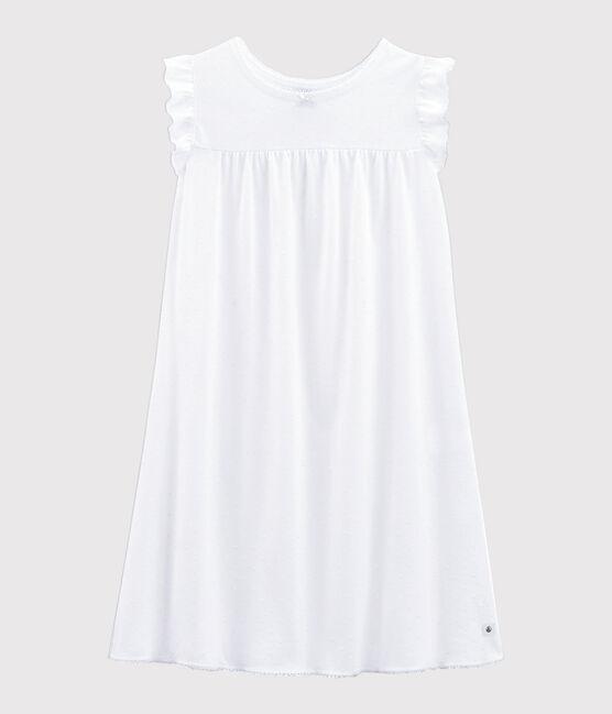Camicia da notte bambina in cotone sottile bianco Ecume